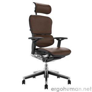 Ergohuman Elite Brown Leather Office Chair with Head Rest