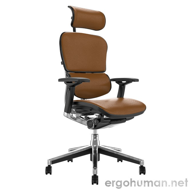 Ergohuman Elite Latte Leather Office Chair with Head Rest