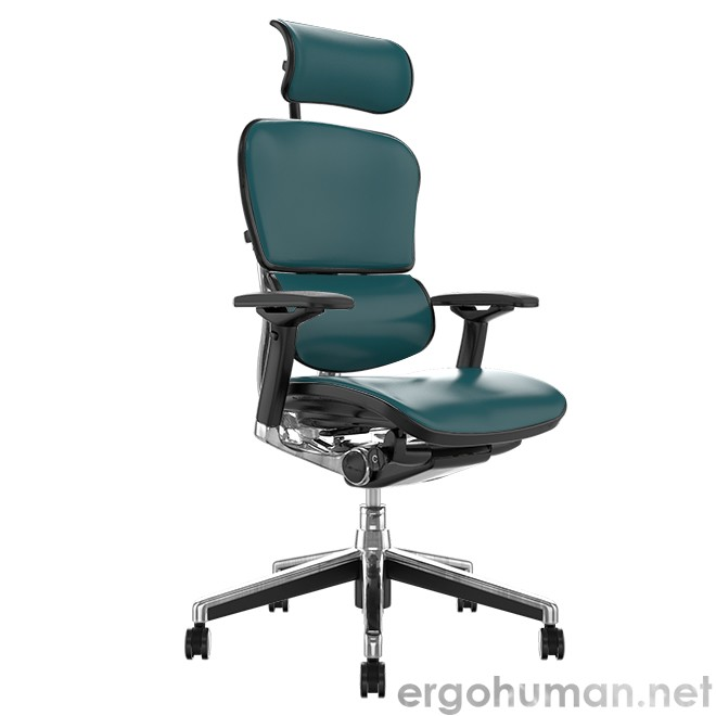 Ergohuman Elite Teal Leather Office Chair with Head Res