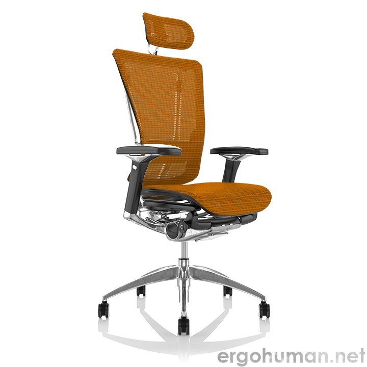 Nefil Orange Mesh Office Chair with Head Rest