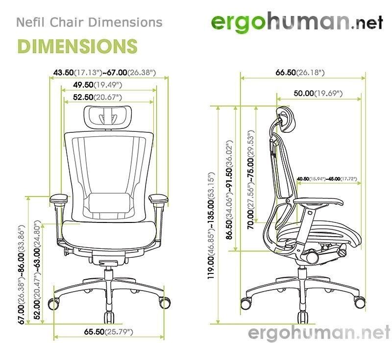 Nefil Office Chair Dimensions